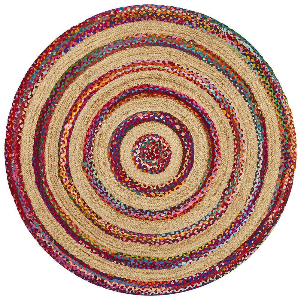 April Target Cotton and Jute Round Rug Multi