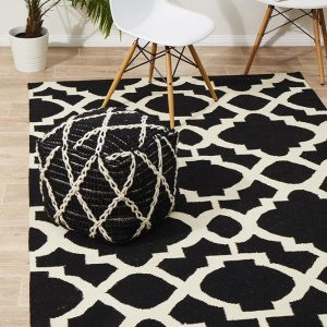NOM-17N-BLACK Flat Weave Multi Rug - The Flooring Guys