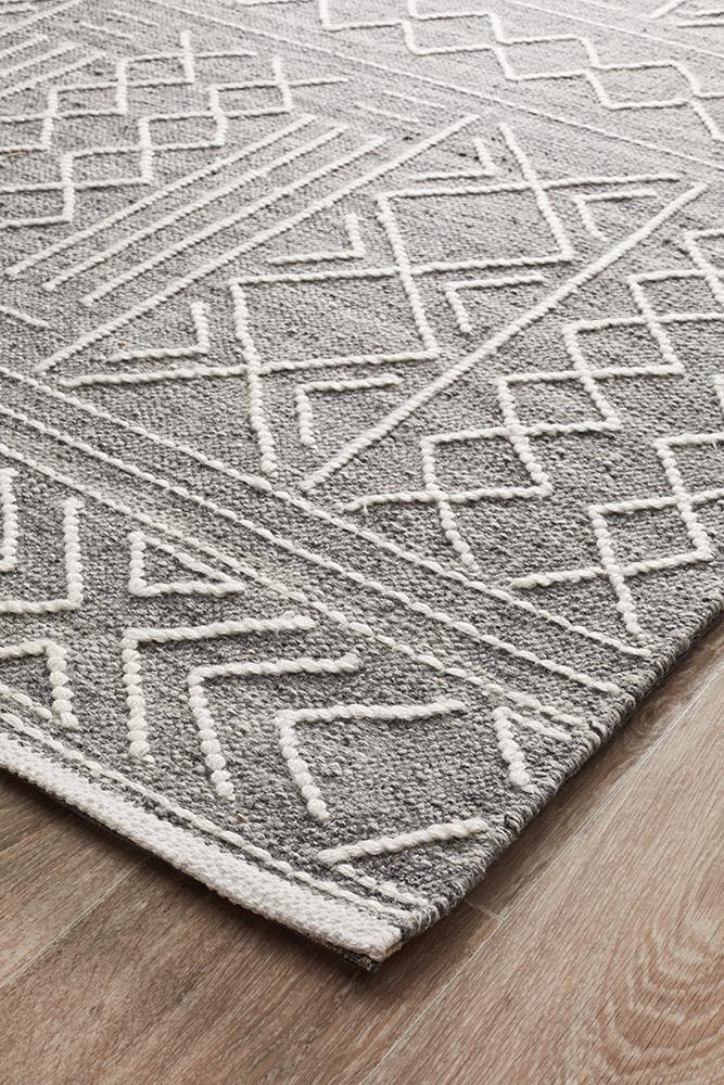 Arya Stitch Woven Rug Silver Grey